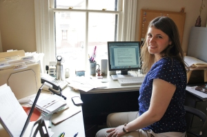 Lisa at her new desk, ready to start a new season.
