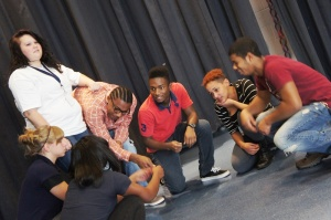 Students participating in the Building Bridges theatre program, fall 2013.